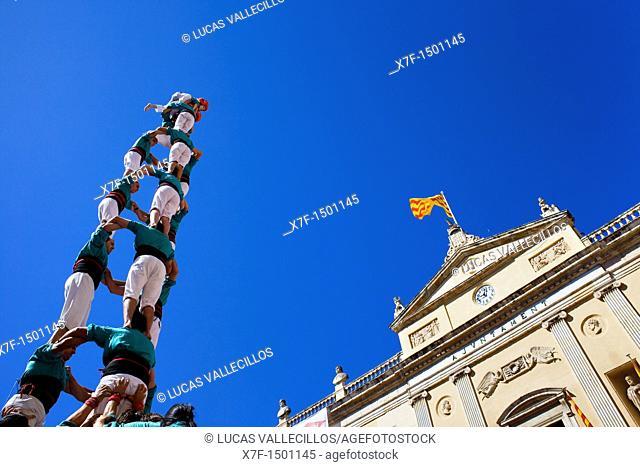 Castellers de Vilafranca 'Castellers' building human tower, a Catalan tradition Festa de Santa Tecla, city festival  Plaça de la Font Tarragona, Spain