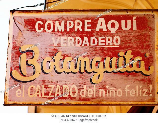 Botanguita shoe store sign. Buenos Aires, Argentina