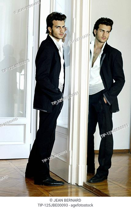 Man reflected in a mirror