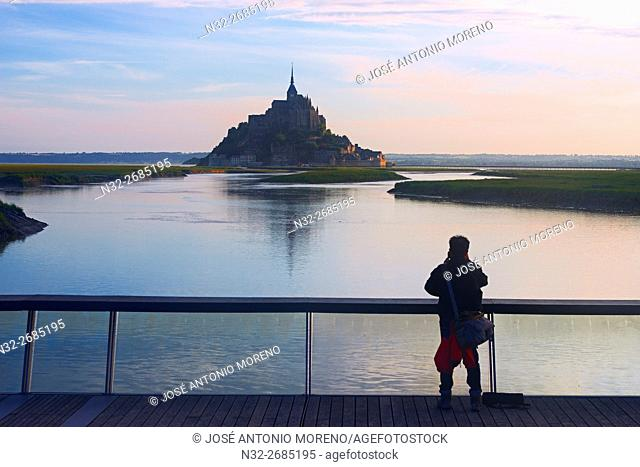 Mont St Michel,Sunset, Mont-Saint-Michel, Benedictine abbey, Pontorson, UNESCO, World Heritage Site, Manche, Normandy, France