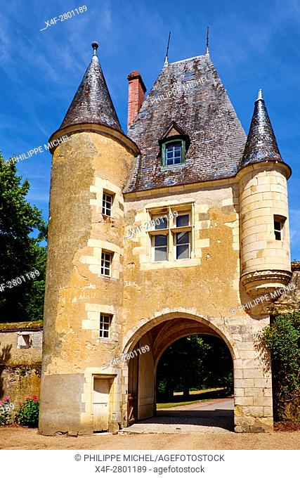 France, Cher (18), Berry, the Jacques Coeur road, entrance porch, chateau de la Verrerie castle