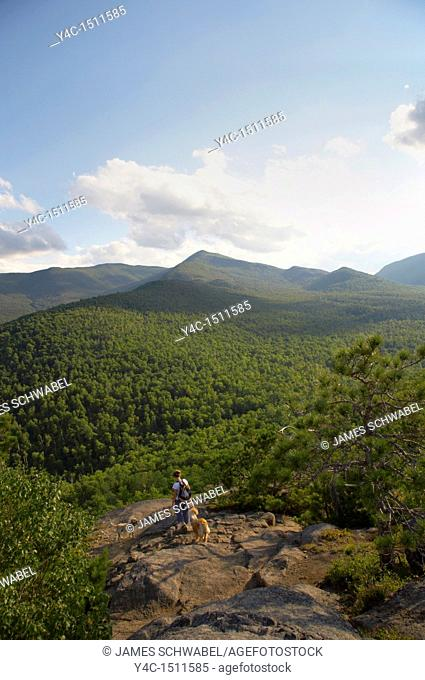 View from Owls Head Mountain near keene in the High Peaks Region in the Adirondack Mountains of New York State