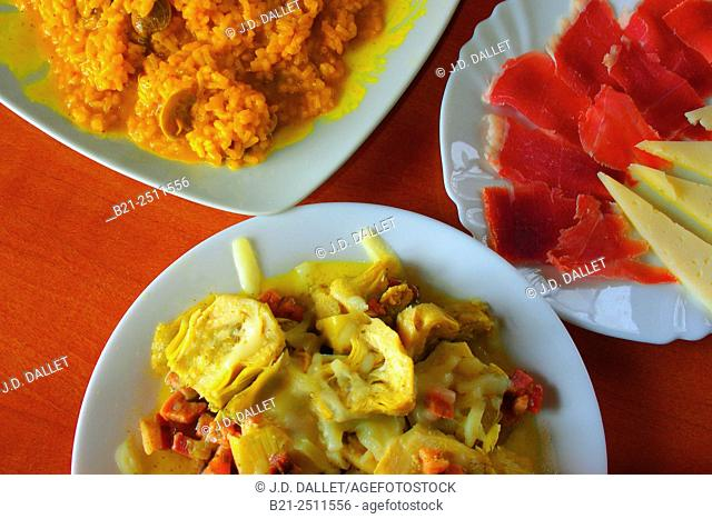 Food: paella, artichokes and ham with cheese, Spain