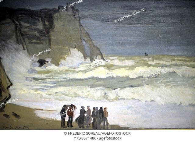 Stormy Sea at Etretat, 1868, oil on canvas, Claude Monet, Musee d'Orsay, Orsay Museum, Paris, France, Europe