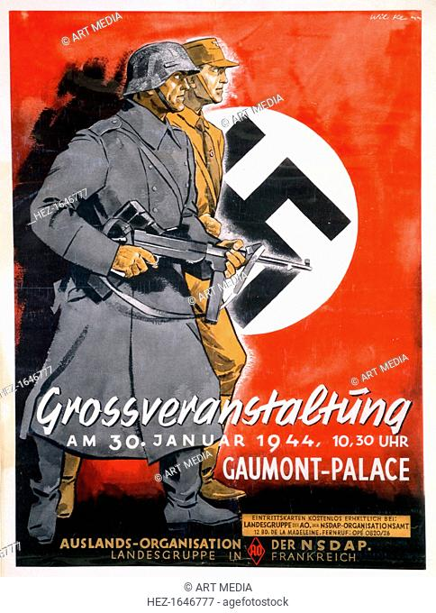 NSDAP poster for a meeting at the Gaumont Palace, France, 30th January 1944