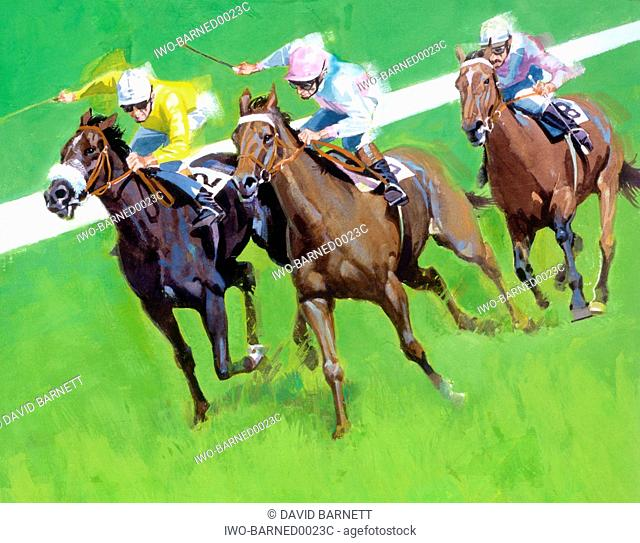 three horses racing on a track