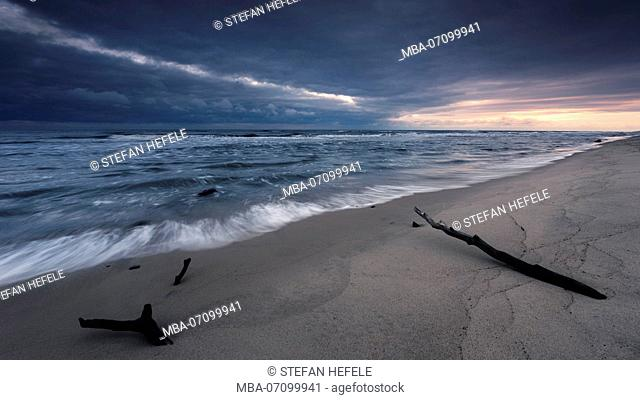 Baltic sea coast at dawn in the National Park Walinsky, Poland