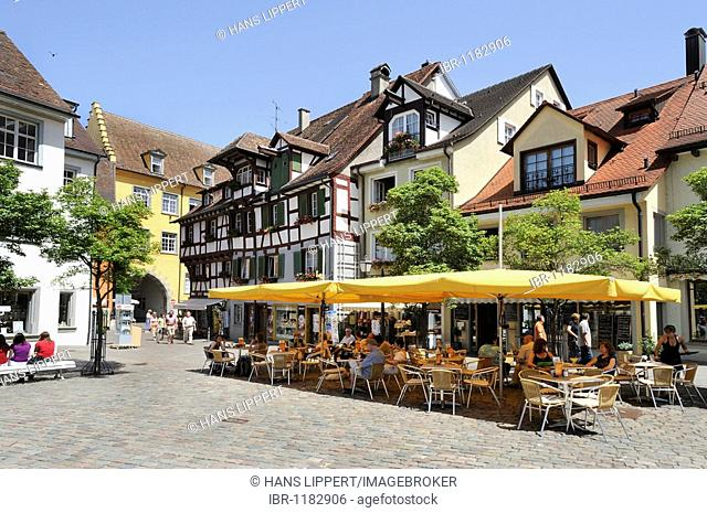 Schlossplatz castle square in Meersburg on Lake Constance, Baden-Wuerttemberg, Germany, Europe