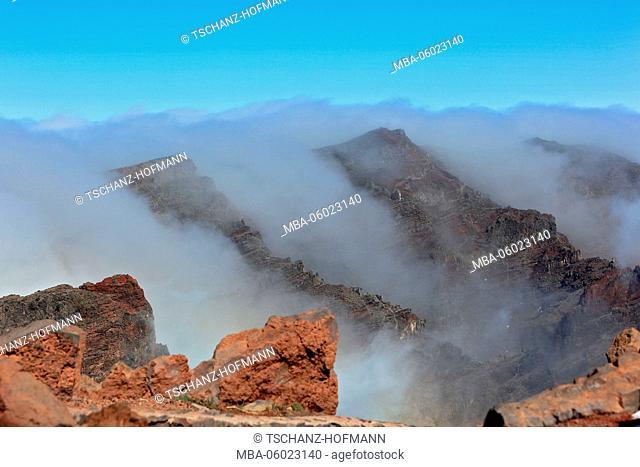 La Palma, Canary Island, on the mountain Roque de los Muchachos in the National Park Caldera de Taburiente, clouds, fog covering the summit