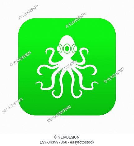 Octopus icon digital green for any design isolated on white illustration