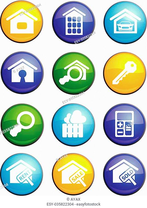 Real estate round glossy icons for web site and user interfaces