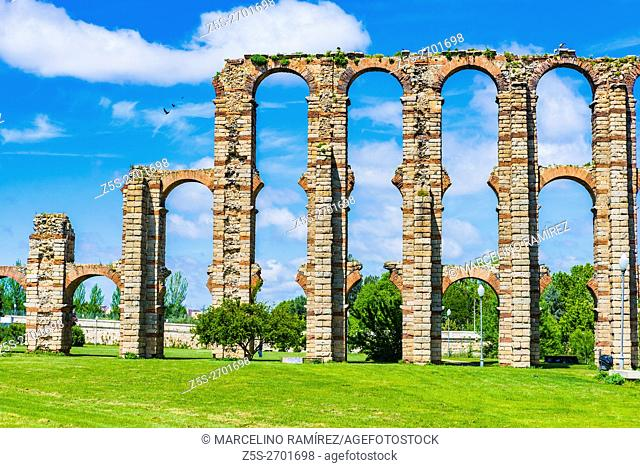 The Acueducto de los Milagros, Miraculous Aqueduct, is a ruined Roman aqueduct bridge, part of the aqueduct built to supply water to the Roman colony of Emerita...