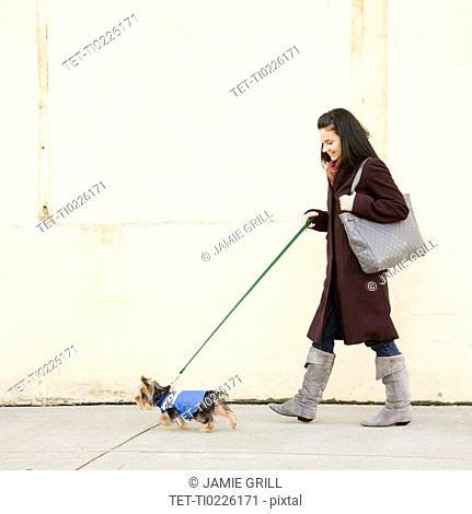 Woman walking dog on sidewalk