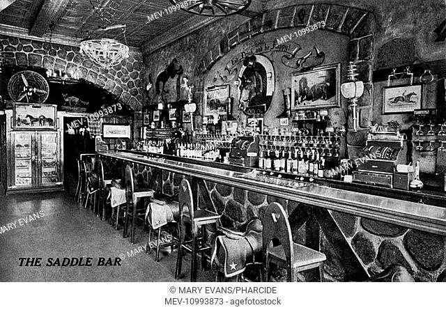 Saddle Bar, Jack Delaney's, Grove Street, New York City, USA. Some of the bar stools have saddle-shaped seats