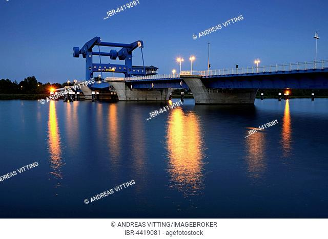 Lift bridge over Peenestrom to Usedom Island, dusk, Wolgast, Mecklenburg-Western Pomerania, Germany