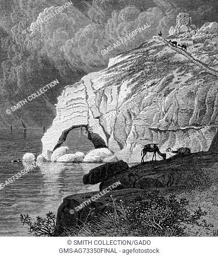 A depiction of the Ladder of Tyre, a rock cut road that was believed to be the northern limit of the Jewish Holy Land according to talmudic sources, Lebanon
