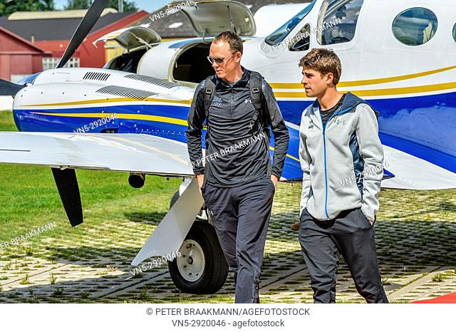 Arrival Chris Froome with Mikel Landa at Airport Breda where they will later cycle the Profwieller Round of Etten Leur