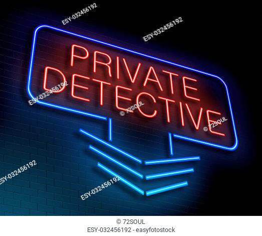 Illustration depicting an illuminated neon sign with a private detective concept
