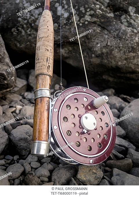 Close-up of fishing rod and reel