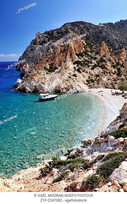A beach on a desert Cyclades island, Polyaigios island, Cyclades, Greece