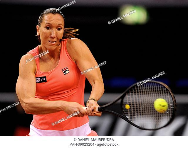 Serbia's Jelena Jankovic hits the ball during the first-round match of the WTA Tennis Grand Prix against Australia's Stosur at Porsche Arena in Stuttgart