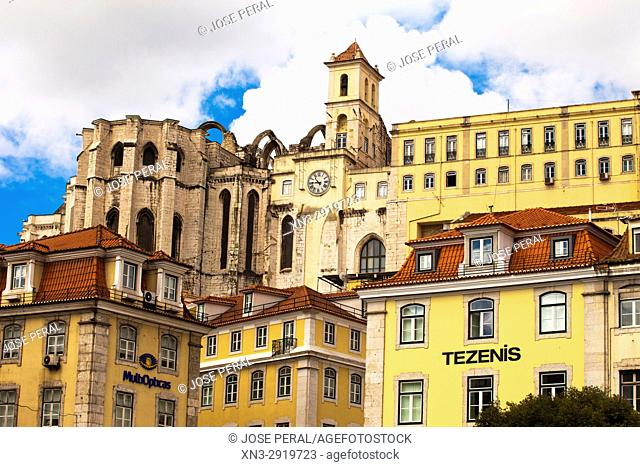 View of the apse of the Carmo Convent, as seen from the Rossio Square, Lisbon, Portugal, Europe