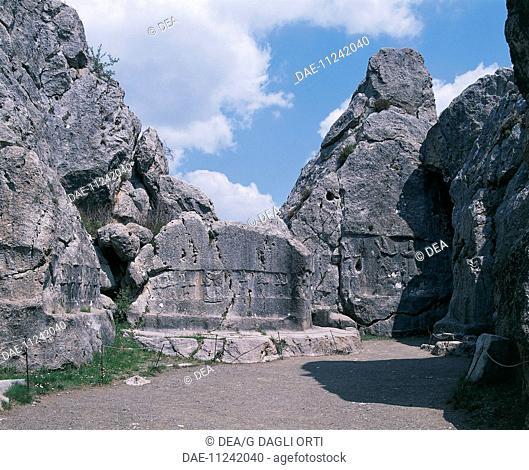 View of Room A at the Hittite Rock Sanctuary in Yasilikaya, Turkey. Hittite civilisation, 13th Century BC