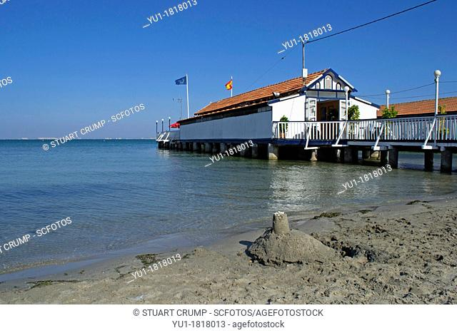 Traditional Spanish Restaurant on a wooden pier jetty over the Mar Menor Sea at Los Alcazares Murcia Costa Calida,East Coast of Spain