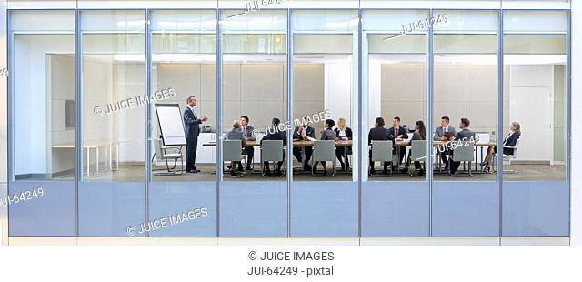 View through window, of business meeting