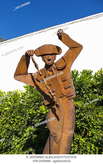 Sculpture of a banderillero, Real Maestranza de Caballeria, Plaza de Toros. Bullring Ronda. Málaga province Costa del Sol, Andalusia