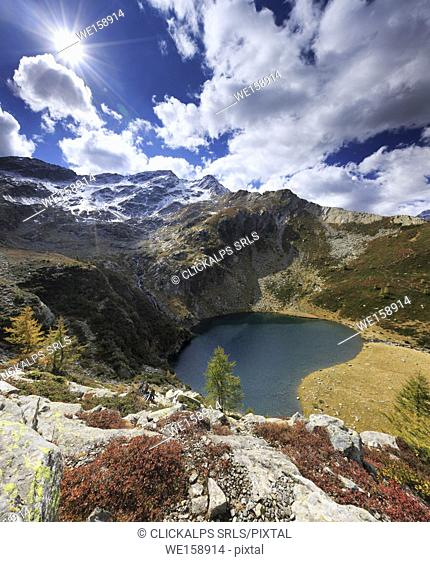 Lago di Trescolmen in val Calanca seen from above in autumn, canton Grisons, Switzerland