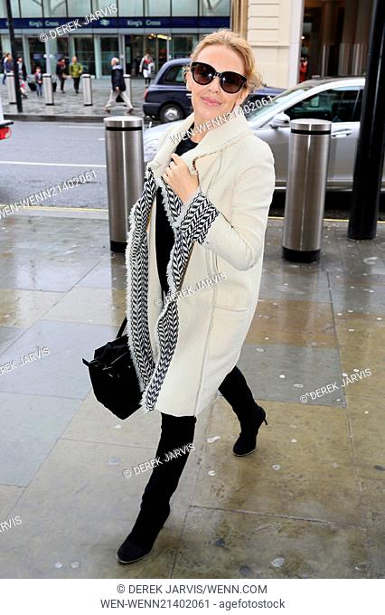 Kylie Minogue arrives at King's Cross St. Pancras station for the Eurostar to Paris on her 46th Birthday (28May14) Featuring: Kylie Minogue Where: London