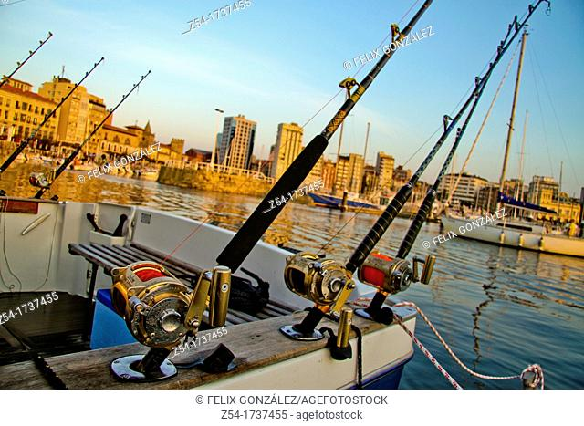 Sea rod in a fishing sport boat, at Marina Gijón, Asturias, Spain