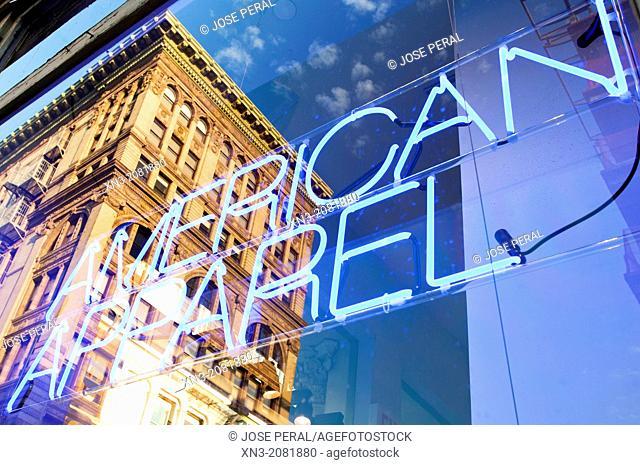 American Apparel, Shop Window, Store, Soho, Manhattan, New York, New York City, United States, USA