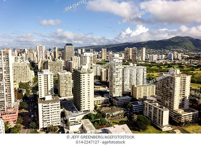 Hawaii, Hawaiian, Honolulu, Waikiki Beach, resort, high rise building, hotels, condominium buildings, Makiki, Lower Punchbowl, Tantalus, mountains