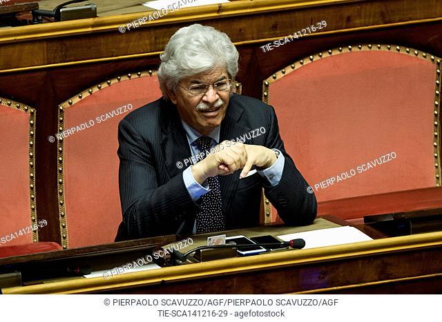 Senator Antonio Razzi during the debate at Senate, Rome, ITALY-14-12-2016