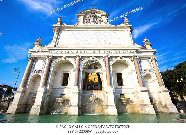 """The Fontana dell'Acqua Paola also known as Il Fontanone (""""""""The big fountain"""""""") is a monumental fountain located on the Janiculum Hill in Rome"""