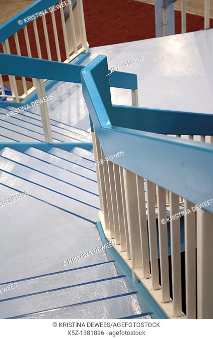 Stairs painted in shades of white and blue