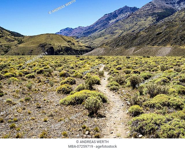 Hiking trail 'Aviles loop' along the river Rio Aviles, Park Patagonia, valley Chabucco, east of Cochrane on road to argentinian border at Paso Roballos