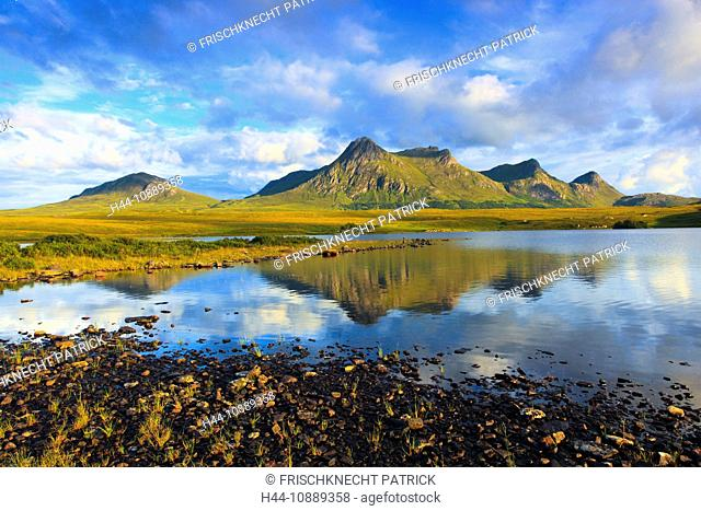 Evening, evening mood, Ben Loyal, mountains, mountains, bodies of water, summits, peaks, Great Britain, Highland, highlands, scenery, hole, Lochan Hakel, nature