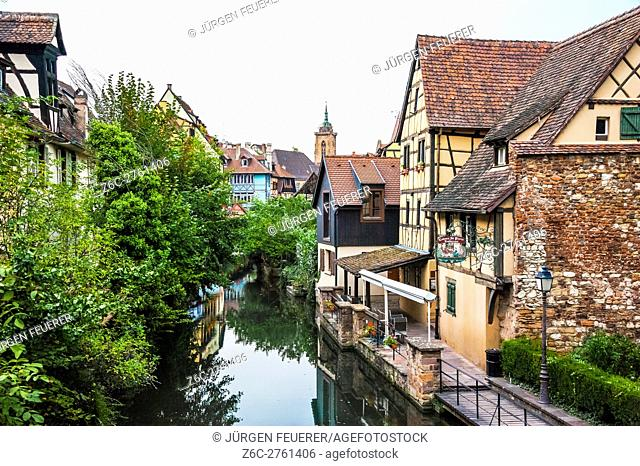 Colmar, part of old town called Little Venice, scenic picturesque town, Alsace, France