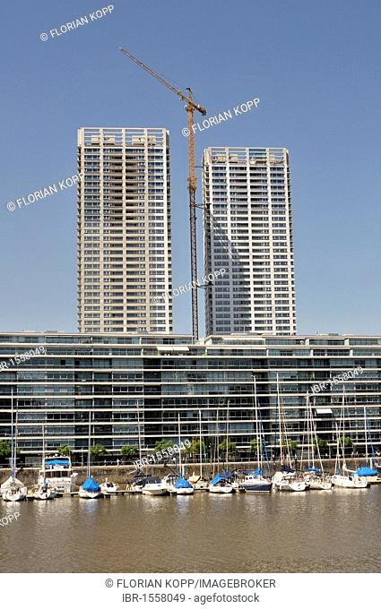 New buildings, modern office towers are being constructed behind the old harbor in Puerto Madero district, Buenos Aires, Argentina, South America