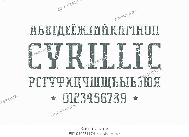 Cyrillic serif font in the sport style. Letters and numbers with rough texture for logo and title design. Print on white background