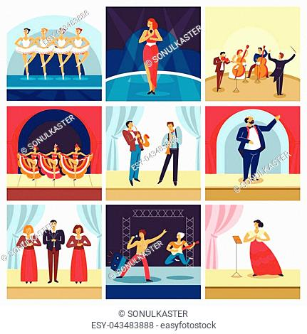 Music concert stage with opera or theater singers and musicians. Vector man play saxophone and guitar on rock concert, woman sing and dance in cabaret or ballet