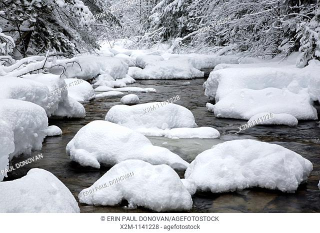 Swift River during the winter months  This river runs along the side of the Kancamagus Highway route 112 which is one of New England's scenic byways  Located in...