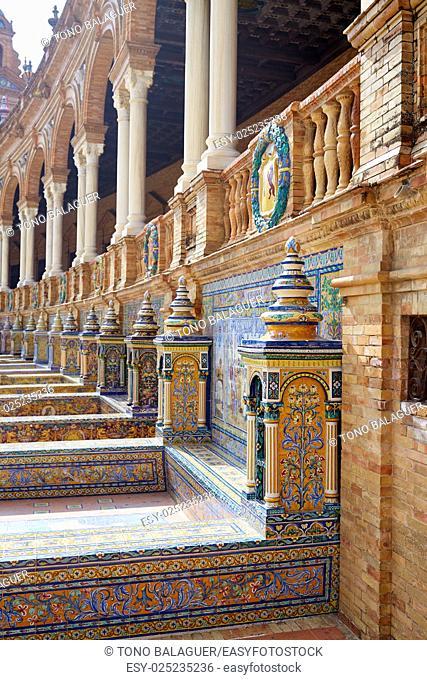 Seville Sevilla Plaza de Espana Provinces bench in Andalusia Spain square