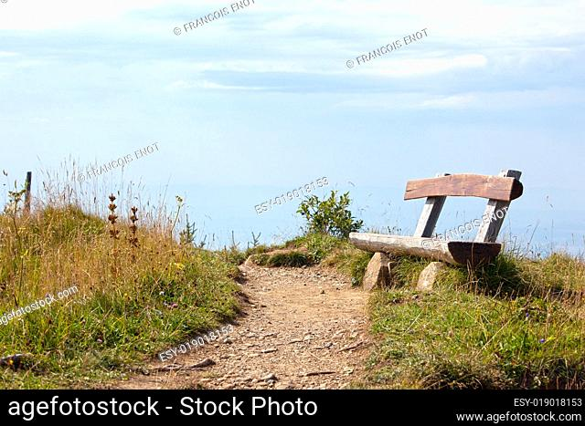 Old rustic bench in the countryside