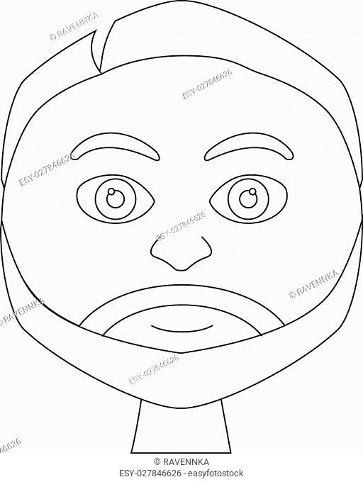 Coloring book (page) - portrait of smiling adult male with beard