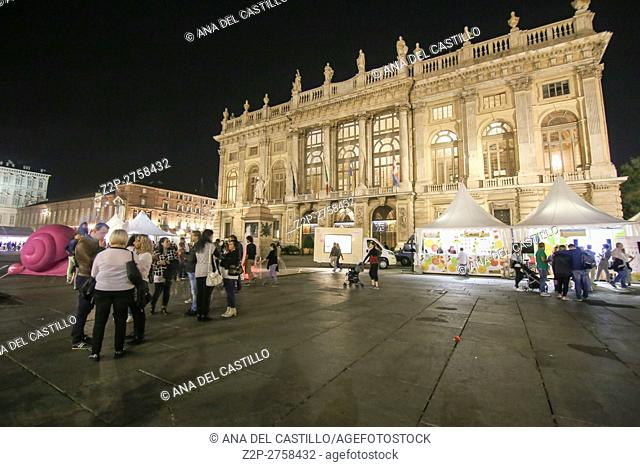 Turin in Piedmont on September 25, 2016 during the food festival Terra Madre Salone del Gusto is the most important international event dedicated to food and...
