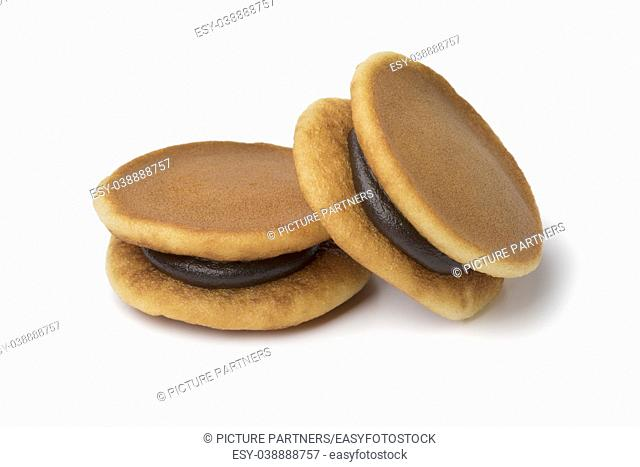 Two Japanese Dorayaki close up isolated on white background